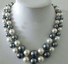 2 Rows Black White South Sea Shell Pearl Tower Beads 18KWGP Clasp Necklace