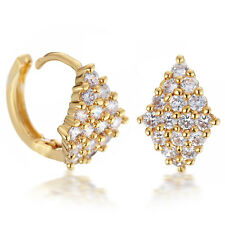 18K Yellow Gold Filled Round Hoop Created Diamond Crystals Earrings USGM069 Z1