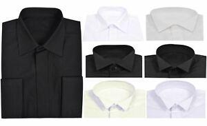 Mens Plain Shirt Collar Double Cuff Wedding Dress Long Sleeves Formal Shirts