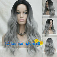 Long Wavy Parted middle Ombre Lace Front Heat Resistant Women Black Gray wig