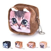 Square Cute  Animal Face Coin Purse Wallet Mini Zipper Bag  headset  package FF