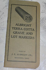 VINTAGE 1937-38 TERRA COTTA GRAVE MARKER POCKET SIZE NOTEBOOK CALENDAR!