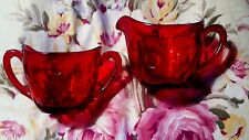 Beautiful Vintage 1950's Ruby Glass Pitcher & Sugar Bowl with dot pattern.