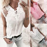 Women Floral Lace Sleeveless Blouse Ladies Summer Tie up Mesh Vest Shirt Tops