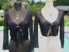 Cache Peek A Boo Bead Encrusted Shrug Wrap Top NWT XS/S/M Stretch Front Tie $198