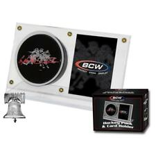 BCW Hockey Puck & Card Holder Display Crystal Clear Plastic Autograph Case NHL