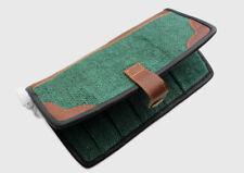 Green Hemp Clutch Purse with Leather Edging, Women Hand Purse