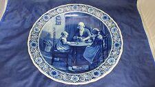 """Lg 15.75"""" Royal Delft de Porceleyne Fles Signed Dutch Scene Wall Plate Charger"""