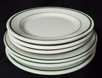 "BUFFALO CHINA (6) Plates GREEN STRIPE Restaurant Ware 7"", 8"""