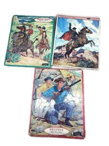 Lot 3 Wagon Train, Rifleman, Zorro Whitman Frame Tray Puzzle Western Tv Series