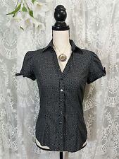 SMALL Express Design Studio Black White Dot Top Short Sleeve Button Down Shirt B