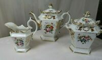 ANTIQUE TEA COFFEE SET POT SUGAR BOWL & CREAMER  GERMANY PORCELAIN