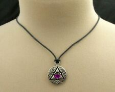 Celtic Knot Necklace Pewter Pendant With Cord Purple Bead Trinity Symbol