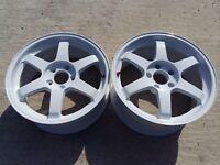 "17"" Volk Rays Racing TE37 SL 5x114.3 jdm gtr only 2 wheels"