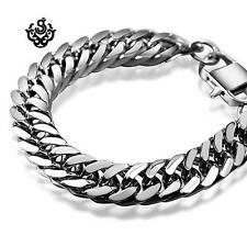 Silver bracelet bikies chain chunky heavy stainless steel 245mm long