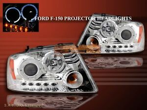 04-08 FORD F150 / 04-08 LINCOLN MARK LT PREJECTOR HEADLIGHTS CHROME TWO HALO LED