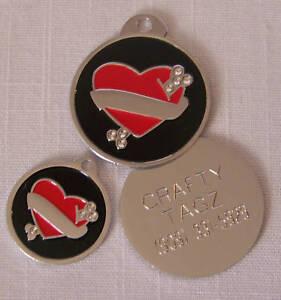 Dog/Pet/Cat ID Tag - Tattoo Hearts Rhinestone Crystals