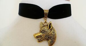 Black Velvet Wolf Head Choker Pagan Wicca Necklace Gothic Pendant Medieval