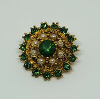 Vintage Brooch Gold Tone Faux Pearls & Green Faceted Glass Stones Sparkly Pretty