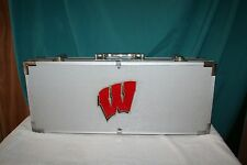 NEW! Wisconsin Badgers Quality Portable BBQ Cooking Utensils Metal Carrying Case