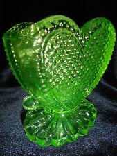 neon Green Vaseline glass toothpick holder uranium heart pattern art yellow glow
