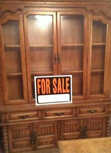 China Cabinet Solid Wood Home & Garden Furniture w/Silverware Drawer Glass Doors