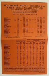 ORANGE LUXURY COACHES MAY 1936 ~ ALL COASTAL SERVICES TIMES AND FARES SHEET