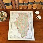 Large Original 1898 Antique Map ILLINOIS Aurora Peoria Champaign Cicero Rockford
