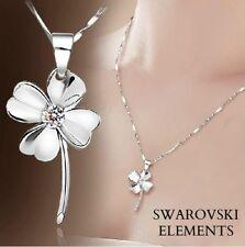 collier chaîne pendentif fleur trèfles 4 feuilles Swarovski® Elements incolore
