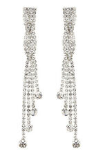 CLIP ON EARRINGS - silver drop earring with clear crystals and stones - Cabot S