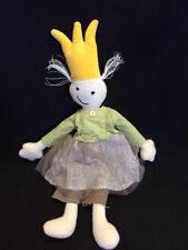 "NWOT Jottum Plush Rag Doll Tan Flower Skirt Tulle Green Shirt Yellow Crown 17"""