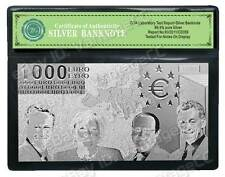 999 Silver **€1000* Euro Bank Note Banknote Bill Certificate of Authenticity COA
