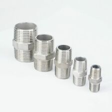"""1/4"""" - 2"""" BSP Male Hex Nipple 304 Stainless Steel Pipe Fitting Connector Coupler"""