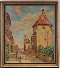 7960039 Ölgemälde signiert Adlon Ansicht einer Kleinstadt 1937