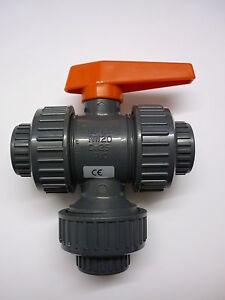 """DURAPIPE Multiport Ball valve 3/4"""" plain socket viton PVC - New & Boxed x100"""