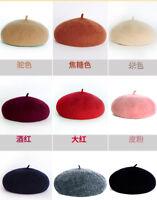 Vintage Unisex Wool Warm Beret Beanie Hat Cap Men Women French Style Solid Color