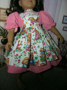 "Red Dress Teddy Bear Print Apron 2 piece Dress 23"" Doll clothes fits My Twinn"
