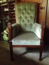Pair Arts & Crafts ArtDeco Mahogany Inlaid Victorian Throne Hall Dining Armchair
