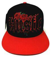 Hustle Floral Rose Snapback Cap Hat 100% Cotton Adult Men's OSFM Black Red NWT
