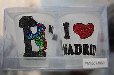 """lot revendeur 15 sets de 2  verres ou photophores """"ours"""" """"j'aime madrid"""" neufs"""