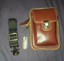 Vintage Style Brown Leather Camera Bag w/ Strap