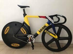 look 496 carbon track bicycle mavic io comete carbon wheels
