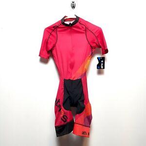 Athlos Womens Split Zero Skinsuit Fuchsia, Plain Suit, ZSCW100, Size XS