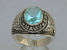 Navy United Stated Military 925 Sterling Silver Aqua March Men's Ring Size 10