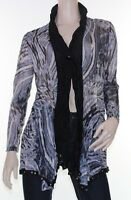 Drape Cardigan Sz 10 12 14 16 Womens Grey Blue Black Crinkle Cardi Abstract