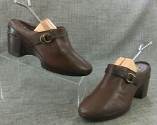 New Cole Haan Women's Mules Clogs Wedge  NikeAir Brown Leather  Size 9 B