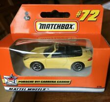 MATCHBOX #72 PORSCHE 911 CARRERA CABRIO CABRIOLET Yellow German 1998 MIB