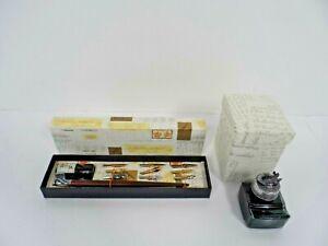 La Kaligrafica Wooden Dip Pen & Pewter Top Ink Well Set