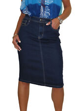 Stretch Denim Jeans Pencil Skirt Indigo Dark Blue 12-24 Stitch Pocket 18