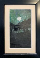 Winter Moon  - Mini original oil by Sarah Gill In A Frame